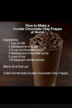Double Chocolate Chip Frappe at Tasty Fun Recipes We have an easy recipe for you today! It is the Double Chocolate Chip Frappe which is delicious! Everyone has tasted one of these before and if you do not... then you know you need to make this one right NOW! Please look below for the ingredients [...]Continue reading...