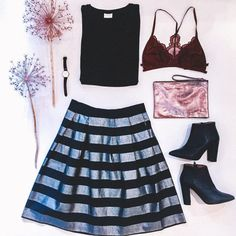 OOTW Luv the shop || Silver Linings Silver Lining, Beautiful Things, Skater Skirt, Skirts, Outfits, Shopping, Black, Dresses, Fashion