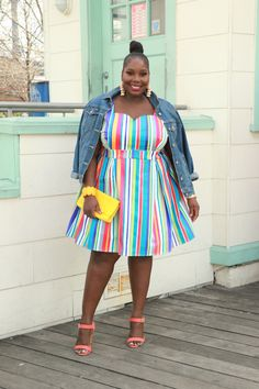 Plus Size Fashion for Women - Although I Hate My Arms,This Modcloth Rainbow Dress Helped Me Embrace Them | Stylish Curves