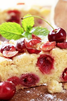 This is my absolute favorite: Cherry Clafoutis Recipe: rustic French dessert of sweet, juicy cherries baked in a custard batter. kitchme.com