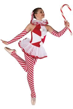 Style# 18481 CANDY CANE  Red, white and striped spandex halter unitard. Separate white chiffon collar and tutu. Ribbon and pom trim. Headpiece and mitts included. SC-XXLA