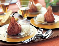 Roasted Bosc Pears with Pomegranate Glaze