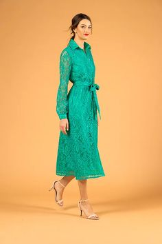 Turquoise green lace shirt dress - V I K T O R I A V A R G A Collar Dress, Shirt Dress, Thick Tights, Lace Ribbon, Green Lace, Easy Wear, French Lace, Cold Day, Spring Dresses