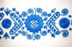 embroidery from Buzsak, Hungary - embroidered panel is part of a sewing kit for a peasant blouse Hungarian Embroidery, Embroidery Motifs, Crochet Stitches Patterns, Stitch Patterns, Winter Kids, Sewing Kit, Pattern Paper, Blackwork, Folk Art