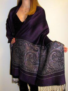 Dark Purple Shiny Dressy Evening Shawl Wrap - www.yourselegantly.com best pick!