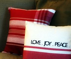 DIY easy envelope pillow cover step by step.  Use a tea towel and old pillow case!!