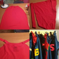 No-sew Superhero Capes:  Cut out front and back of adult XL t-shirt.  Trim hem from sleeves and cut in half; use hot glue to attach to each side of neck band.  Use felt to make first initial of child and glue on.  Either tie in front or attach velcro for younger kids.
