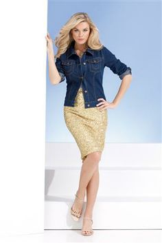 Sequined Pencil Skirt & Jean Jacket