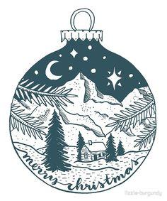 'Christmas Landscape Bulb Illustration' by lizzie-burgundy Illustration Noel, Winter Illustration, Ink Illustrations, Christmas Illustration, Pattern Illustration, Landscape Illustration, Christmas Poster, Diy Christmas Cards, Xmas Cards