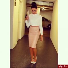 Moda uliczna Inne Moda... Nude leather pencil skirt