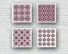 818dc4a2b88a Set of 4 Mulberry White Pattern Wall Art PRINTABLE Decor Maroon Instant  Download Poster Print Morrocan Tile Square Burgundy Kitchen