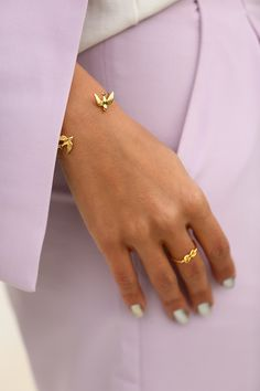 Goodnight Macaroon knot ring and swallow bangle