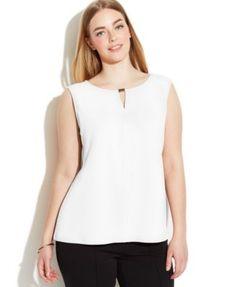 Calvin Klein Plus Size Sleeveless Textured Keyhole Top