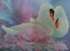 Finished Diamond Painting, Swans w Roses, Partial Mosaic, Round Rhinestones on Canvas by TheBlushinRose on Etsy $29 Swans, Rhinestones, Mosaic, Roses, It Is Finished, Canvas, Diamond, Unique Jewelry, Handmade Gifts