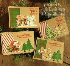 Blankina creations: ATC Mice Christmas Kraftin Kimmiestamps & IG hop