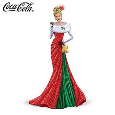 coca cola lady figurine | Officially Licensed Coca Cola Christmas Hostess Lady Figurine Deck The ...