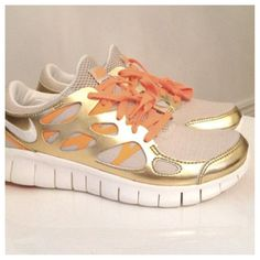 Shop Women's Nike Gold Orange size Sneakers at a discounted price at Poshmark. Description: Nike birch/silver metallic gold and orange free run+ Durable running shoes. Women's Shoes, Cute Shoes, Me Too Shoes, Shoe Boots, Nike Free Runs, Nike Running, Running Shoes, Runs Nike, Trail Running
