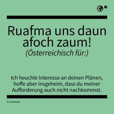 """""""Raufma uns daun afoch zaum!"""" - Österreichisch für: Ich heuchle Interesse an deinen Plänen, hoffe aber insgeheim, dass du meiner Aufforderung auch nicht nachkommst. Pure Fun, True Words, Funny Cute, True Stories, Austria, I Laughed, Me Quotes, Haha, Language"""