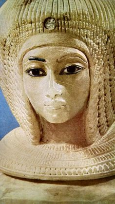 Head of a woman, possibly Queen Kiya.  Canopic urn, Tomb KV55 in the Valley of the Kings, Egypt.