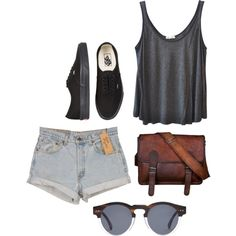 Distressed by paisliey on Polyvore featuring American Vintage, Vans, Illesteva, Levi's, distressed leather, black vans, leather satchel and satchel