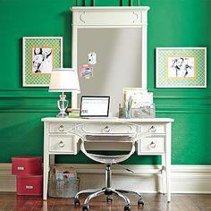 Shelby Desk + Mirror Hutch #pbteen