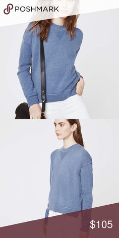 Rebecca Minkoff Adelle Cashmere Sweater French Blu Dropped shoulder seams relax the fit of this lightweight cashmere Rebecca Minkoff sweater. Ribbed edges. Long sleeves. Color is called French Blue. Brand new with tags Rebecca Minkoff Sweaters Crew & Scoop Necks