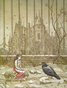 The Snow Queen by Hans Christian Andersen.  Illustrated by Boris Diodorov. Gerda asks the raven for directions