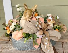 shop: Easter arrangement, Easter centerpiece, Easter decor, bunny centerpiece, bunny arrangement Excited to share this item from my Easter Table Decorations, Easter Centerpiece, Spring Crafts, Holiday Crafts, Diy Osterschmuck, Easter Peeps, Diy Ostern, Easter Colors, Easter Wreaths