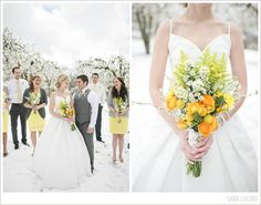 This is what snow on your wedding day looks like. Photography by saralucero.com and bouquet by Brierrosedesign.com