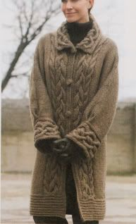 Plaited Cable Chunky Aran Style Coat-Cabled Collar & Deep Cuff | Source: INTERNET
