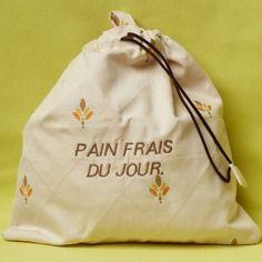 Sac à pain en coton,pour miche ou pain rond,brodé pain frais du jour
