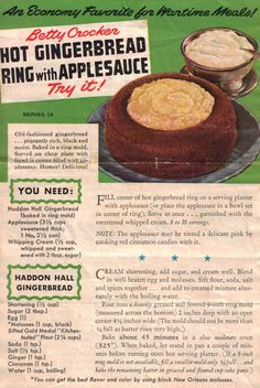 Betty Crocker WWII Ration Recipe for Hot Gingerbread Ring with Applesauce. Retro Recipes, Old Recipes, Vintage Recipes, Wartime Recipes, Vintage Cooking, Vintage Food, Recipe Sheets, Cupcakes, Old Fashioned Recipes
