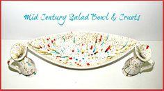 SALE Mid Century Vintage Salad Bowl and Cruets by GrammysGoodys