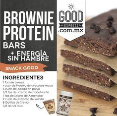 BROWNIE PROTEIN BARS- - ¿Quieres más energía? Tener snacks saludables a la mano es parte de tener una vida más Healthy, estas deliciosas Brownie Protein Bars son ideales para ese antojo de media mañana.  Ingredientes 1 tza de harina de avena 4 cuch de Proteína chocolate maca 4 gotas de Stevia 3 cuch de cacao en polvo 1/8 de cucharadita de sal rosa 1/2 taza de crema de cacahuate 1 taza Leche de almendras + 2 cucharadas de extracto de vainilla Instrucciones - Mezcla la harina de ...
