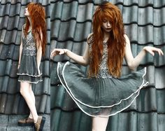 Sheinside Pretty Dress, Creepers-long red hair henna long layers-can't get enough of this girls hair