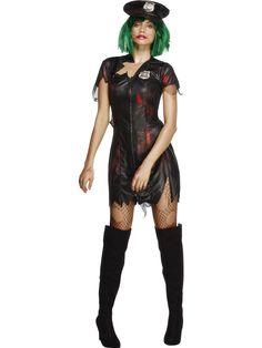 Zombie Naispoliisi. Naamiaisasun mekko on verentahrima ja repaileinen, kuten teemaan kuuluukin. Virkamerkki on näyttävästi esillä niin päähineessä kuin mekossakin.