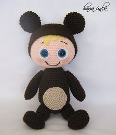 "Bear Doll - Free Amigurumi Pattern - PDF File - Click ""download"" or ""free Ravelry download"" here:  http://www.ravelry.com/patterns/library/bear-doll"