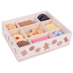 This large wooden biscuit box is full of delicious looking wooden biscuits - perfect for sharing! Includes an assortment of the biscuits that everyone loves including gingerbread men, party rings, custard creams and much more! Wooden Play Food, Wooden Toys, Wood Biscuits, Childrens Kitchens, Play Shop, Party Rings, Pretend Play, Role Play, Tablet