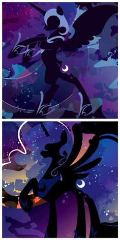 MLP. Nightmare Moon and Princess Luna Silhouette Fan Art. Abstract Art. Both of Luna's sides. Uploaded by SUNSET SHIMMER.