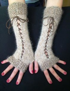 Fingerless Gloves Corset Wrist Warmers  in Natural Beige and Light Brown/ Taupe with Suede Ribbons Victorian Style. $38.00, via Etsy.