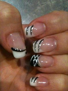 White tips with black and silver sparkly lines