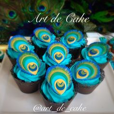 Peaacock cupcakes hand painted peacock cupcakes