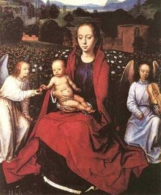 Hans Memling German born Flemishnpainter 1435-1494 Virgin and Child in a Rose Garden with Two Angels 1480s.