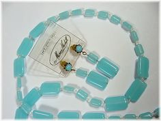 MIRIAM HASKELL ~ Baby Blue Pastel Glass Bead Necklace & Earrings on Original Card 14K Gold Posts  @@ FREE SHIPPING @@