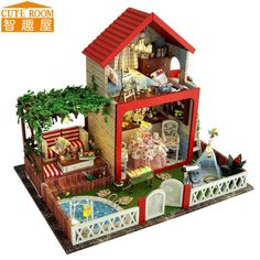 Assemble DIY Doll House Toy Wooden Miniatura Doll Houses Miniature Dollhouse toys With Furniture LED Lights Birthday Gift TB5