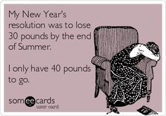 My New Year's resolution was to lose 30 pounds by the end of Summer. I only have 40 pounds to go!!!!!!!