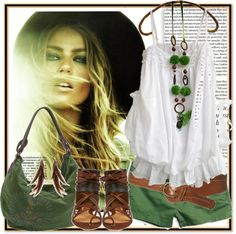 """Boho green party!"" by annabu ❤ liked on Polyvore"
