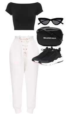 """Untitled #23365"" by florencia95 ❤ liked on Polyvore featuring Helmut Lang, Balenciaga, NIKE and Le Specs"
