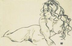 Egon Schiele, La Fille Aux Longs Cheveux / The Girl With Long Hair - 1918-lithographie