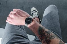 Tattoos go well with our Black Code Watch with the Silver Mesh Strap.